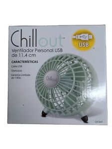 """ChillOut 4 1/2"""" Personal USB Fan  BRAND NEW / Opened Box Green #A1"""