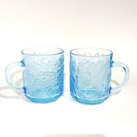 Vintage KIG Ice Blue Glass Mug Cup Set 2 Indonesia Embossed Fruit