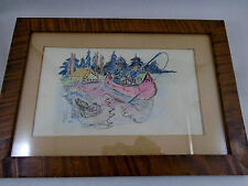 Antique Watercolor Painting  Camping on the Lake Tent Canoe Fishing Framed