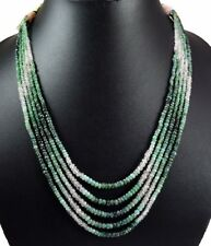 4 Strands Faceted Beads Emerald Gemstone Strings Necklace Precious Beaded Stones