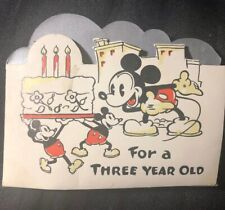 1936 Antique WALT DISNEY Birthday Card MICKEY MOUSE Hall Brothers PRE-HALLMARK
