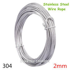 10m/lot 2mm High Stainless Steel Wire Rope Tensile Diameter 7X7 Structure Cable