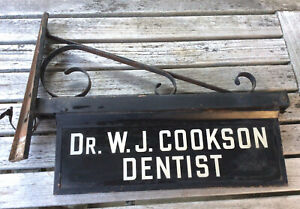 Antique Dentist Reverse Painted Glass Wrought Iron Trade Advertising Sign