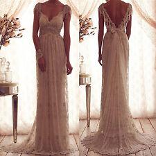 2017 Vintage V Neck Backless Lace Bridal Wedding Dresses with Beading Sleeves