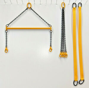 """4"""" Spreader Bar, Straps & 4 Leg Lift Sling. In Authentic Liebherr Yellow. 1/50th"""