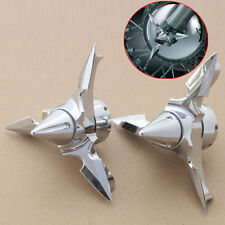 Chrome Spun Blade Spinning Front Axle Cap Cover For Harley Touring Dyna Softail