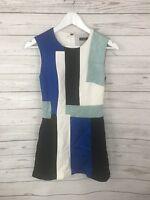 KAREN MILLEN Dress - Size UK6 - Cream, Black, Blue & Green - Great Condition