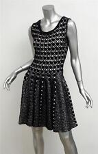 ALAIA Black+Cream Boucle Knit Polka-Dot Sleeveless Fit+Flare Skater Dress S