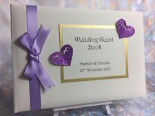 Glitter Heart Personalised Wedding Guest Book  / Anniversary / Birthday
