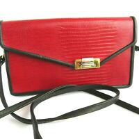 Roche Leather Co Women's Cross Body Red Tailored Burma Leather Bag Purse