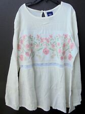 Route 66 girls floral embroidered tunic blouse XL 14/16 long sleeve off white