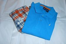 Nautica Boys Polo Shirt & Plaid Adjustable Waist Short Set Forza Blue 6 NWT