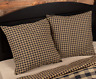 BLACK CHECK Fabric Euro Sham Black/Khaki Rustic Primitive Farmhouse VHC Brands