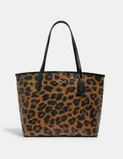 Coach City Tote With Leopard Print Light Saddle Black 7131