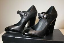AUTHENTIC Chanel Calfskin Leather Black Mary Jane Shoes/Size 36.5