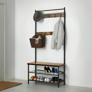 Hall Tree Hat and Coat Stand Hallway Shoe Rack Storage Organiser 175 cm UK