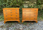 Vintage matched pr Eldred Wheeler Chippendale style tiger maple 4 drawer chests