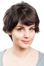 court vraie Perruque de cheveux avec la page de crête, brun foncé, rouge mèches