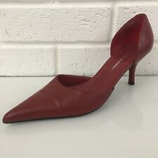 "Ladies Shoes Size 4.5 Red NEXT 100% Leather 3"" Heel Sideless"