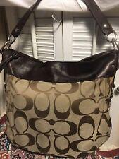 COACH Signature Zoe Hobo Shoulder Handbag Brown Khaki F14709 Distressed
