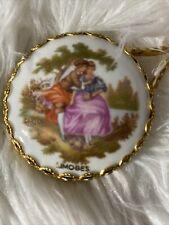 """Antique French Limoges Hand Held Purse Mirror Fragonard Gold Accents 5"""""""