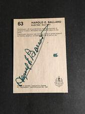 1987 HOCKEY HALL OF FAME CARD HAROLD BALLARD  AUTOGRAPHED