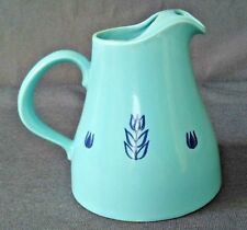 Vintage Oven Bake Blue Tulip Pottery Water Pitcher w/ice Lip~USA~Holds 6 Cups