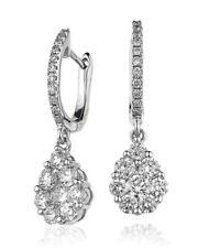 Diamond Drop Daisy Earrings 1.00ct F VS Brilliant Cut in 18ct White Gold