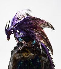 Mystic Legends Purple Dragon On Blue Cave Sculpture Ornament Incense Lights Up