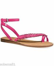 Coach Beach Pink Ruby Semi Matte Leather Calf Sandals Size 6