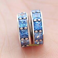 2pcs 925 Sterling Silver Eternity Sky Blue CZ Crystal Spacers Charm Fit Bracelet
