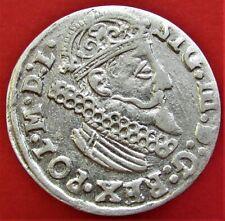 SILVER COIN POLAND LITHUANIA SIGISMUND III WASA 3 GROSZ, 3 GROSCHEN 1624