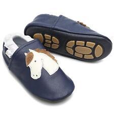 Liya's Krabbelschuhe Hausschuhe Lederpuschen  - #639 Pferd in dunkelblau