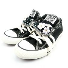 Converse Chuck Taylor All Star Womens 8.5 Double Tongue Flower Black Shoes Laces