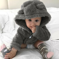 Toddler Baby Boys Girls Fur Hoodie Tops Winter Warm Coat Jacket Thick Clothes AB