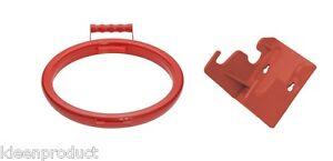Wall Bracket & Handy Hoop Ring Sack Bin Refuse Bag Holder Plastic Handle Red