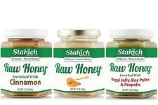 GIFT 12oz Raw Honey, Cinnamon Honey, Royal Jelly Pollen Propolis Enriched Honey