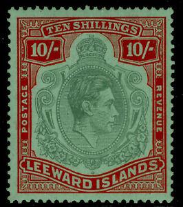 LEEWARD ISLANDS GVI SG113, 10s bluish green & deep red/green, M MINT. Cat £200.