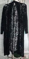 NEW Plus Size 1X Black Lace Open Kimono Duster Topper Jacket SF