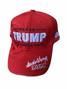 TRUMP 2024 Take America Back Save America Embroidered Donald Trump RED Hat Cap