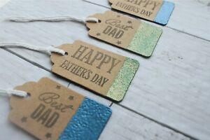 Happy Mothers Day / Fathers Day & Best Dad/ Mum Embossed Edge Brown Gift Tags