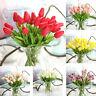 10Pcs Artificial Tulip Bunch Fake Flower Bouquet Leaf Wedding Party Home Decors