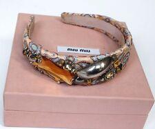Miu Miu Pink Jacquard Jewelled Embellished headband