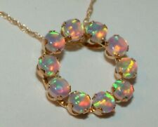 10k Gold Round  OPAL CIRCLE  PENDANT 10CT GOLD CHAIN RAINBOW 🌈  COLOURS