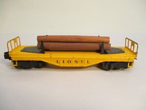 Lionel 6111 Flatcar with Logs Yellow Serifed Postwar O Gauge X4615