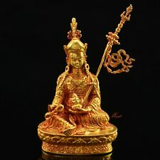 "Copper Alloy Fully Gold Plated 2.75"" Guru Rinpoche Statue from Patan, Nepal"