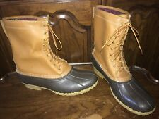 LL Bean Gore-Tex Lined Thinsulate Leather  Rubber Duck Boots Men's 14M