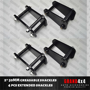 Front+Rear Greasable Extended Shackles for Toyota Landcruiser 73 75 40 60 Series