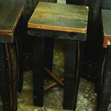 Handmade Rustic Solid Oak Whiskey Cask Stave Bar Stool | Patio Furniture