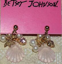 BETSEY JOHNSON STUNNING PINK SEA SHELL STARFISH PEARLS CRYSTAL EARRINGS OCEAN